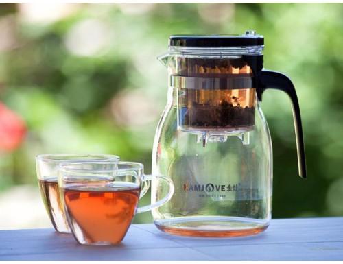 Набор KAMJOVE K-304: стеклянный чайник 900 мл + 2 чашки 150 мл