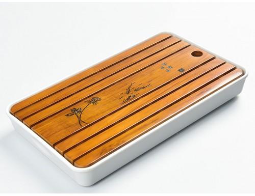 Чабань деревянная 32.5х19х4 см (белая)
