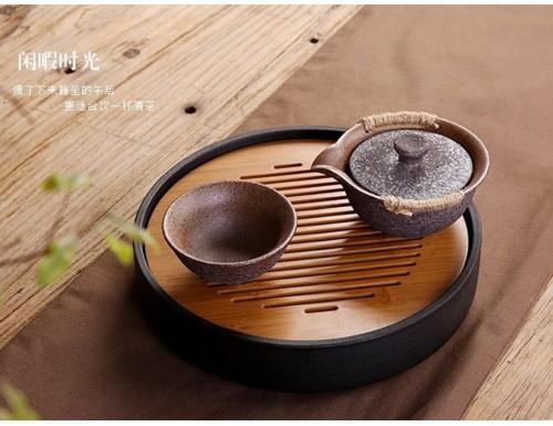Чабань круглая Солнце и Луна (керамика/бамбук)