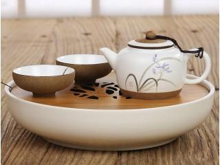 Чабань круглая (керамика и бамбук, белая)