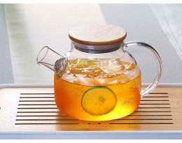 Чайник заварочный 1000 мл из жаропрочного стекла с деревянной крышкой