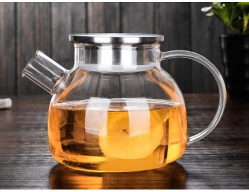 Чайник из стекла с фильтром в носике, 1000 мл, крышки на выбор